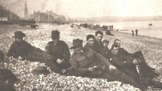 Anzac soldiers relaxing on Weymouth beach