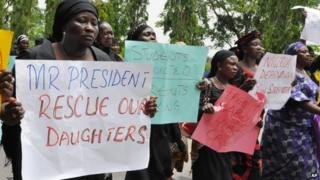 Women attend a demonstration in Nigeria's capital, Abuja, calling on the government to rescue kidnapped schoolgirls of Chibok secondary school - Tuesday 29 April 2014