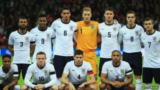 England Football team for friendly against Denmark