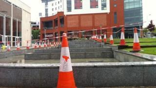 Cordoned-off fountain at Belgrade Plaza