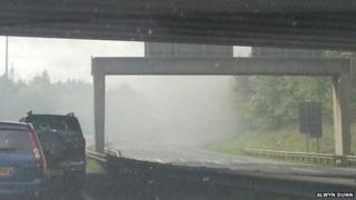 Smoke from lorry fire