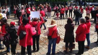 The protest in Glasgow's St Enoch square