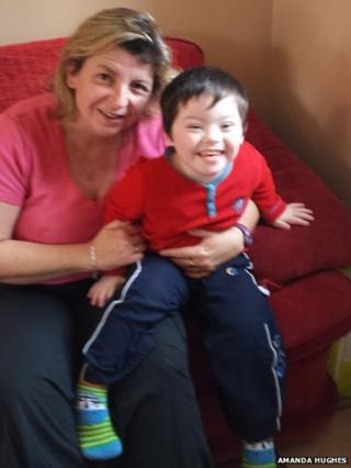 Amanda Hughes and her four-year-old son, Ben
