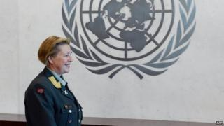 Major General Kristin Lund at the UN in New York, 12 May