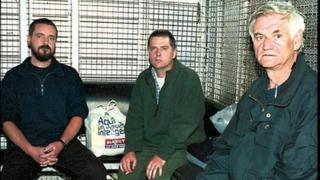 Mr McCauley, seen here in the middle, was arrested along with Niall Connolly and James Monaghan in Colombia in 2001