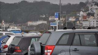 Cars parked in North Beach car park, St Peter Port, Guernsey