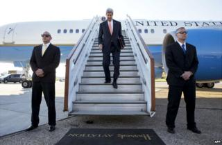 US Secretary of State John Kerry arrives at Stansted Airport near London - 14 May 2014