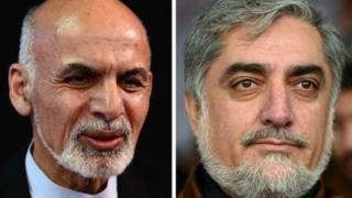 Ashraf Ghani (left) and Abdullah Abdullah (right)