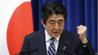Japan's Prime Minister Shinzo Abe speaks during a press conference at the prime minister's official residence in Tokyo, on 15 May