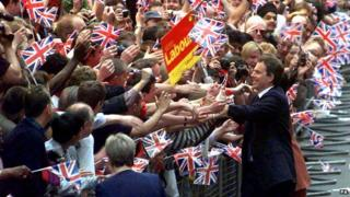 Tony Blair greeting supporters after 1997 landslide victory