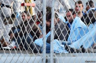 Migrants rescued by the Italian navy in Catania, Italy, 13 May