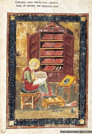 This plate from the Codex Amiatinus depicts Ezra, the ancient scribe and priest