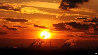 Sun setting over Drax power station in North Yorkshire