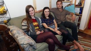 Students sat on sofa