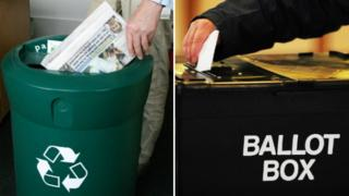 Recycling bin and ballot box composite picture
