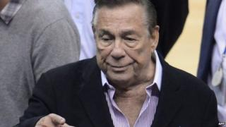 Los Angeles Clippers owner Donald Sterling as he attends the NBA playoff game between the Clippers and the Golden State Warriors in Los Angeles, California 21 April 2014