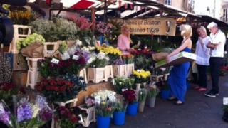 Flower stall at Cambridge Market