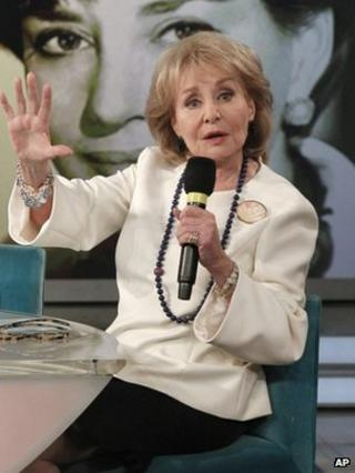 """This image released by ABC shows Barbara Walters speaking during a taping of her final co-host appearance on """"The View,"""" 15 May 2014"""