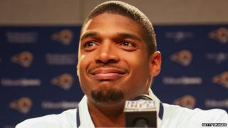 St Louis Ram football player Michael Sam at a press conference on 13 May, 2014.