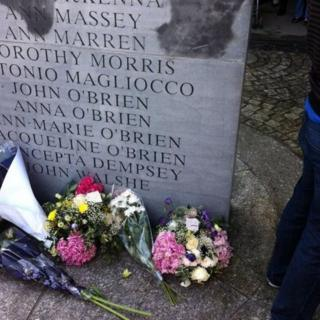 Wreaths and flowers have been left at the site of the Dublin bombs