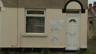 Graffiti was found sprayed on two houses