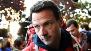 Jerome Kerviel as he prepares to cross into France from Italy, 18 May