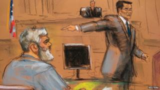Court sketch of Abu Hamza