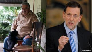 A composite image showing Uruguay's President Jose Mujica (l) and Spain's Prime Minister, Mariano Rajoy (r)