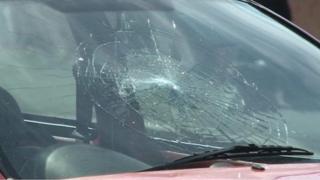 Broken windscreen