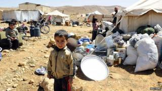 Syrian refugees at Lebanese border town of Arsal, in eastern Bekaa Valley. March 2014