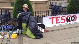 Market Harborough business owner Ian Joule slept in the town centre in protest against plans for a Tesco superstore