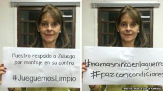 Doctored image on the left, and real image on the right, of Colombian presidential candidate Marta Lucia Ramirez
