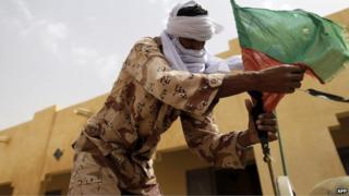 A soldier of the rebel National Movement for the Liberation of Azawad in Kidal, Mali, on 27 July 2013