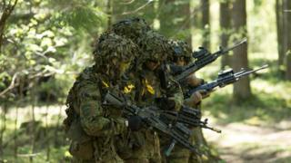 Estonian soldiers participate in Nato military exercises on 18 May, 2014.