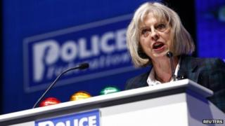 Home Secretary Theresa May addresses the Police Federation's annual conference