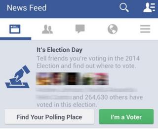 """A screengrab of the Facebook """"I'm a Voter"""" button"""