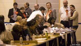 Vote count in Croydon, England, 22 May 14