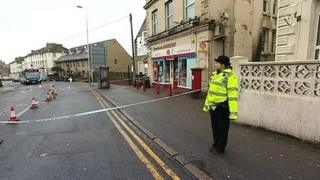 Police cordon off an area in Dover Road, Folkestone