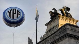 YPF logo balloon in Buenos Aires