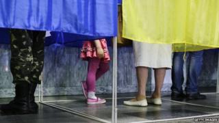 People voting in Kiev