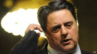 Leader of the BNP Nick Griffin after losing his seat during the European Parliamentary elections count at Manchester town hall