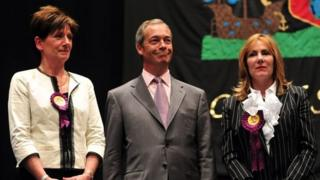 Nigel Farage flanked by fellow UKIP MEPs Janice Atkinson and Diane James