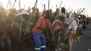 Striking miners in South Africa