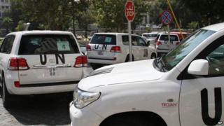 UN vehicles used by chemical weapons inspectors in Damascus, Syria (26 August 2013)
