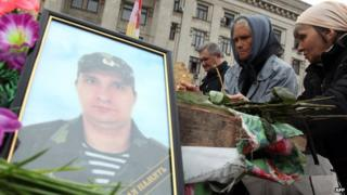 People mourn a pro-Russian separatist killed in Odessa on 2 May