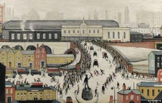 Station Approach, Manchester by LS Lowry (detail)