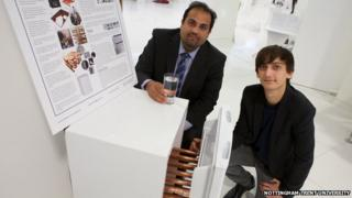 Joseph Wild with his tutor Dr Amin Al-Habaibeh and his water from air design