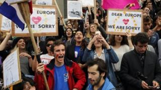 Demonstrators against French far-right National Front party chant slogans during a march from Bastille plaza to Republique Plaza, in Paris, 29 May 2014