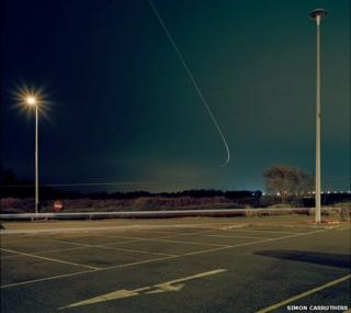 Service station at night
