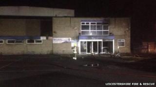 Fire scene at Wigston swimming pool